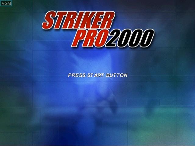 Title screen of the game Striker Pro 2000 on Sega Dreamcast