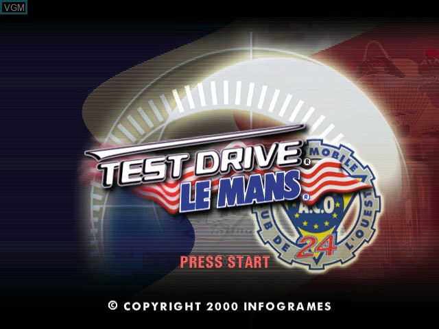 Title screen of the game Test Drive Le Mans on Sega Dreamcast
