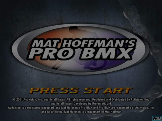 Title screen of the game Mat Hoffman's Pro BMX on Sega Dreamcast