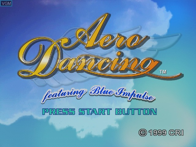 Title screen of the game Aero Dancing - Featuring Blue Impulse on Sega Dreamcast