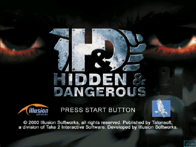 Title screen of the game Hidden & Dangerous on Sega Dreamcast