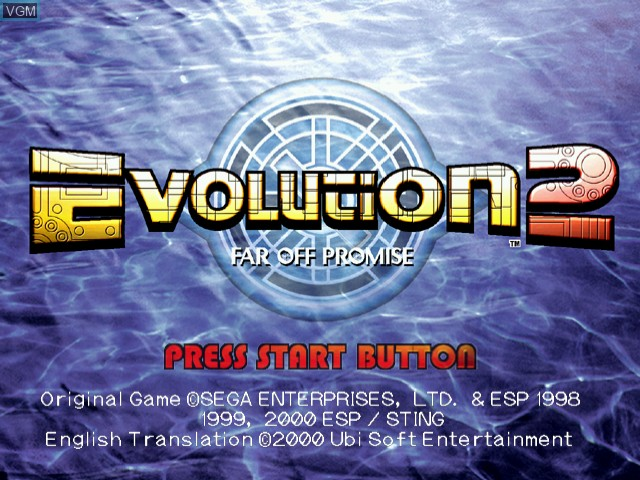 Title screen of the game Evolution 2 - Far Off Promise on Sega Dreamcast