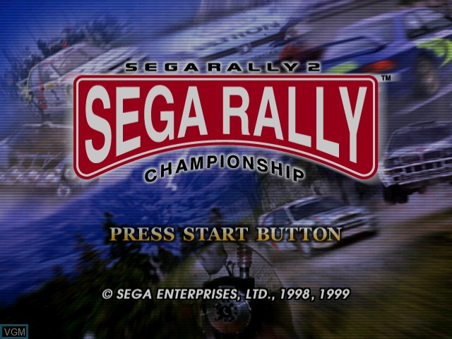 Title screen of the game Sega Rally 2 on Sega Dreamcast