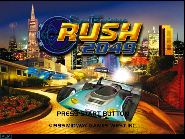 Title screen of the game San Francisco RUSH 2049 on Sega Dreamcast
