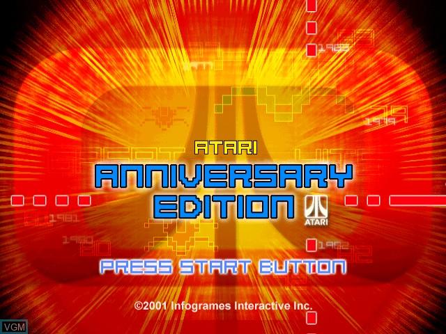 Title screen of the game Atari Anniversary Edition on Sega Dreamcast