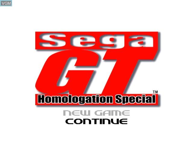 Title screen of the game Sega GT - Homologation Special on Sega Dreamcast
