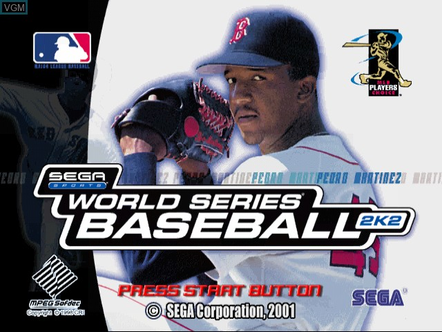 Title screen of the game World Series Baseball 2K2 on Sega Dreamcast