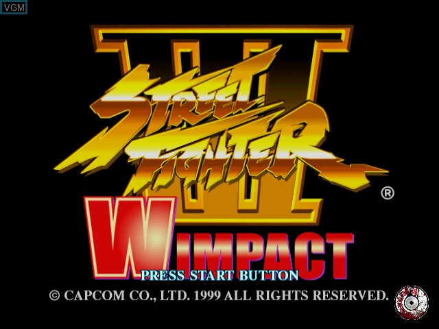 Title screen of the game Street Fighter III W Impact on Sega Dreamcast