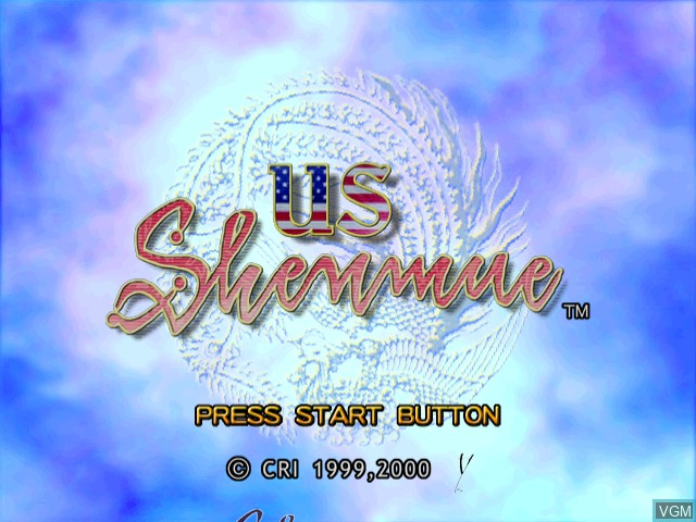 Title screen of the game US Shenmue on Sega Dreamcast