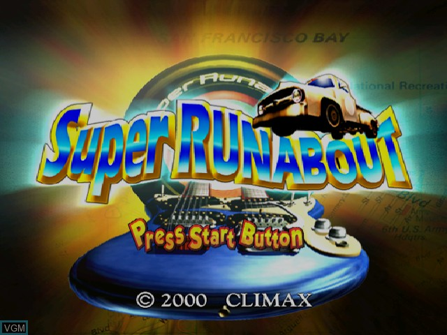 Title screen of the game Super Runabout on Sega Dreamcast