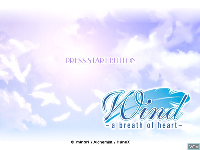 Title screen of the game Wind - A Breath of Heart on Sega Dreamcast
