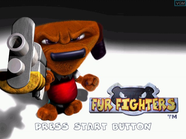 Title screen of the game Fur Fighters on Sega Dreamcast