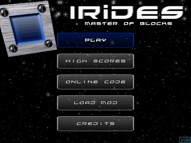 Title screen of the game Irides - Master of Blocks on Sega Dreamcast