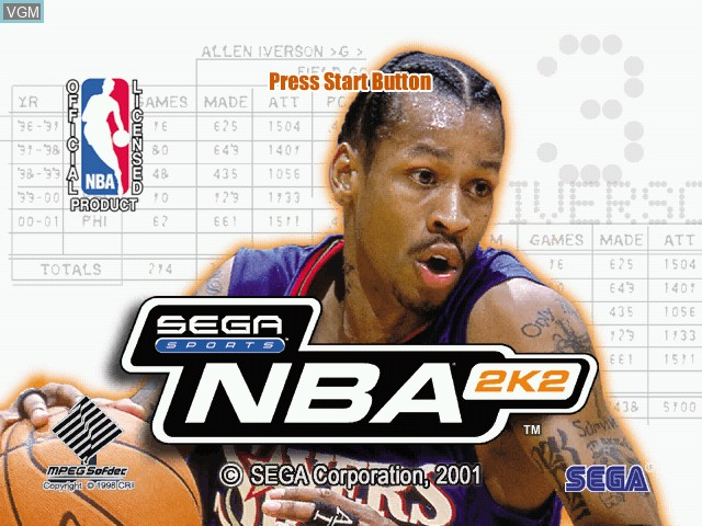 Title screen of the game NBA 2K2 on Sega Dreamcast