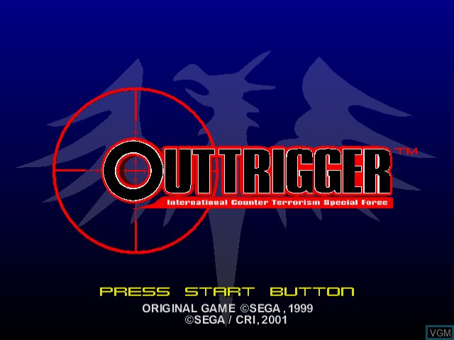 Title screen of the game Outtrigger on Sega Dreamcast