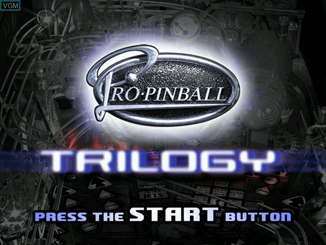 Title screen of the game Pro Pinball Trilogy on Sega Dreamcast