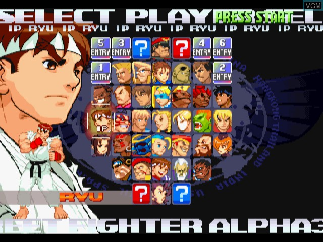 Menu screen of the game Street Fighter Alpha 3 on Sega Dreamcast
