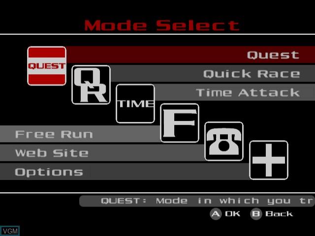 Menu screen of the game Tokyo Xtreme Racer 2 on Sega Dreamcast