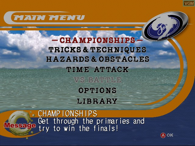 Menu screen of the game Surf Rocket Racers on Sega Dreamcast