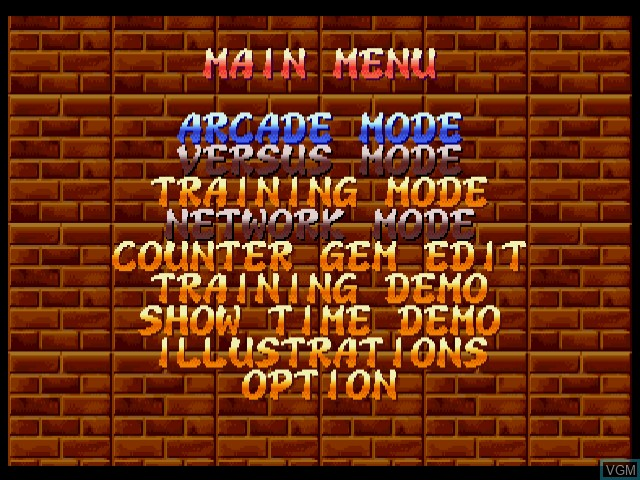 Menu screen of the game Super Puzzle Fighter IIX for Matching Service on Sega Dreamcast