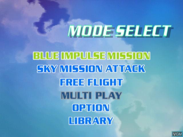 Menu screen of the game AeroWings on Sega Dreamcast