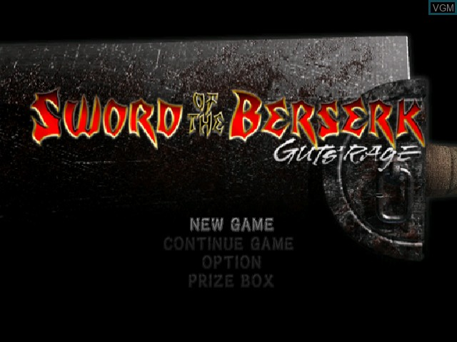 Menu screen of the game Sword of the Berserk - Guts' Rage on Sega Dreamcast
