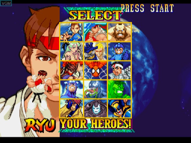 Menu screen of the game Marvel vs. Capcom - Clash of Super Heroes on Sega Dreamcast