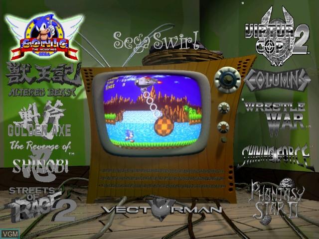 Menu screen of the game Sega Smash Pack - Volume 1 on Sega Dreamcast