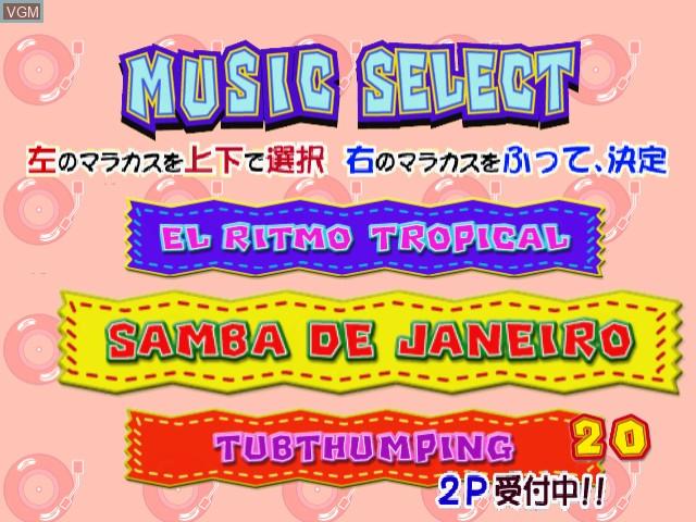 Menu screen of the game Samba de Amigo on Sega Dreamcast