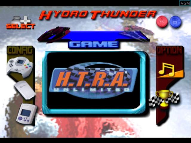 Menu screen of the game Hydro Thunder on Sega Dreamcast
