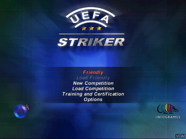 Menu screen of the game UEFA Striker on Sega Dreamcast
