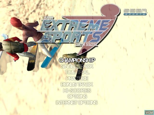 Menu screen of the game Sega Extreme Sports on Sega Dreamcast