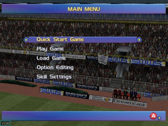 Menu screen of the game Sega Worldwide Soccer 2000 - Euro Edition on Sega Dreamcast
