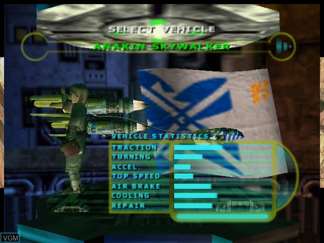 Menu screen of the game Star Wars - Episode I - Racer on Sega Dreamcast