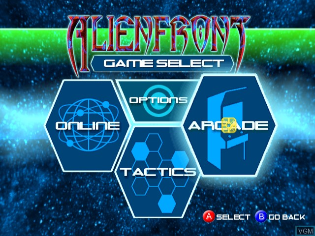 Menu screen of the game Alien Front Online on Sega Dreamcast