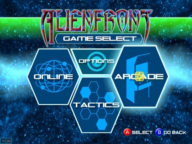 Menu screen of the game Alienfront Online on Sega Dreamcast