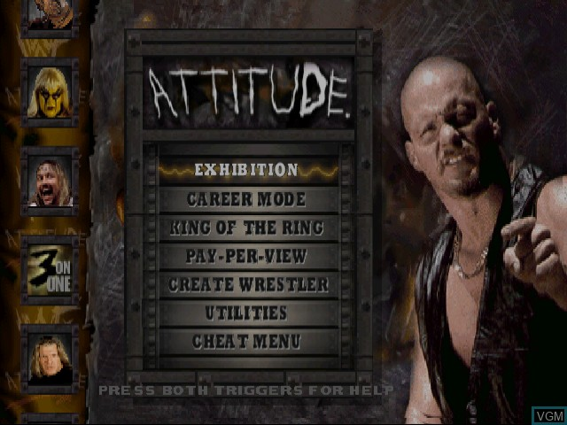 Menu screen of the game WWF Attitude on Sega Dreamcast
