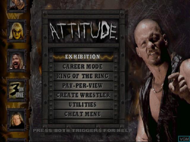 Menu screen of the game WWF Attitude on Sega Dreamcast