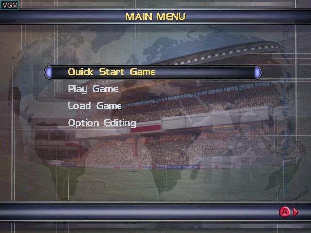 Menu screen of the game Sega Worldwide Soccer 2000 on Sega Dreamcast