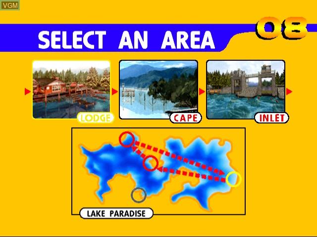 Menu screen of the game Sega Bass Fishing on Sega Dreamcast