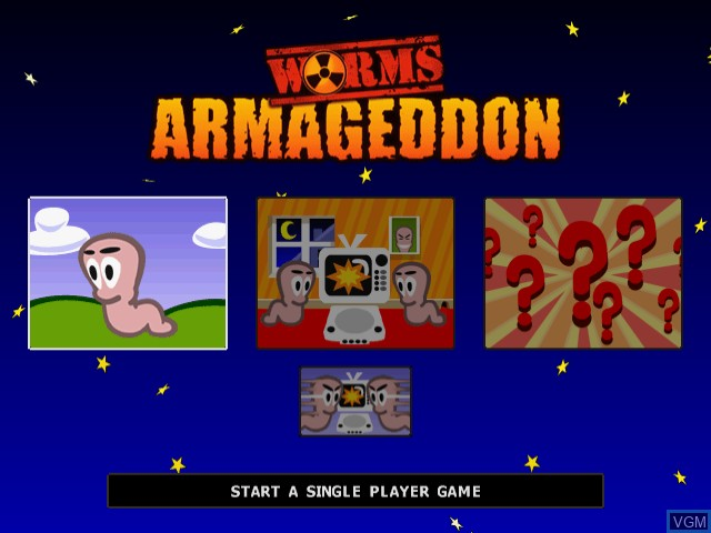 Menu screen of the game Worms Armageddon on Sega Dreamcast
