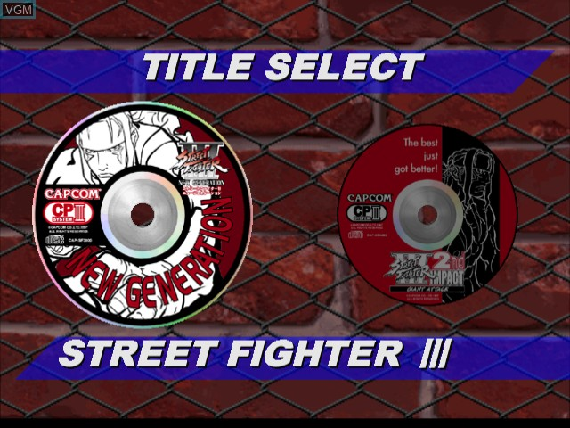Menu screen of the game Street Fighter III - Double Impact on Sega Dreamcast
