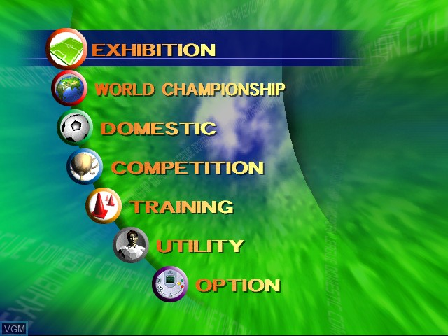 Menu screen of the game 90 Minutes - Sega Championship Football on Sega Dreamcast