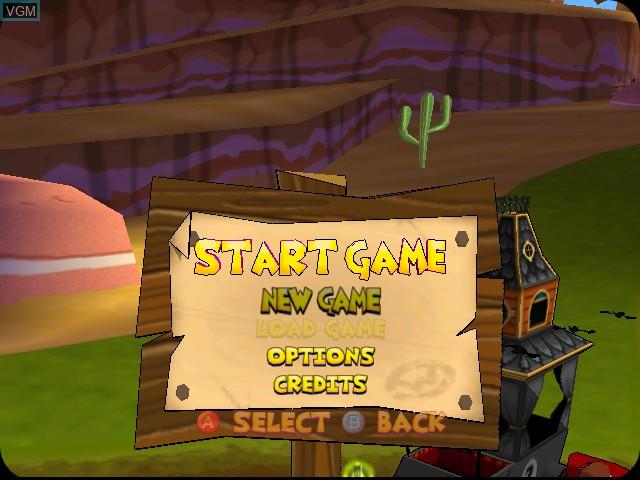Menu screen of the game Wacky Races on Sega Dreamcast