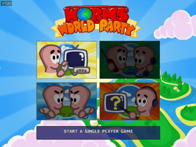 Menu screen of the game Worms World Party on Sega Dreamcast