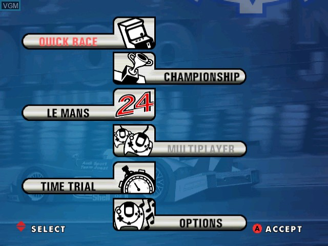 Menu screen of the game Le Mans 24 Hours on Sega Dreamcast