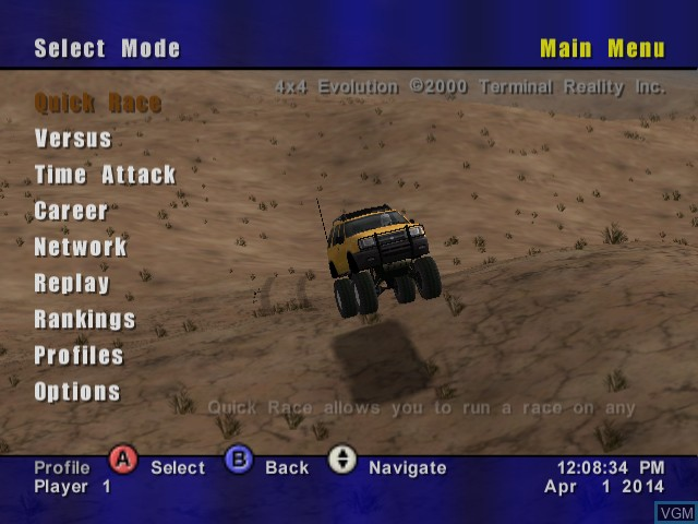 Menu screen of the game 4X4 EVO on Sega Dreamcast