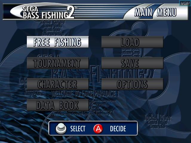 Menu screen of the game Sega Bass Fishing 2 on Sega Dreamcast