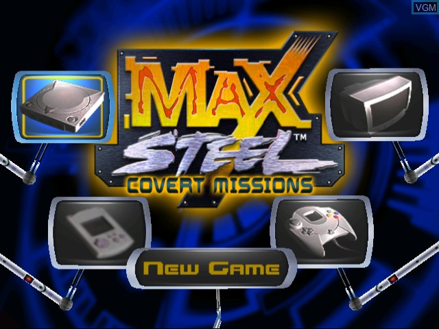 Menu screen of the game Max Steel - Covert Missions on Sega Dreamcast