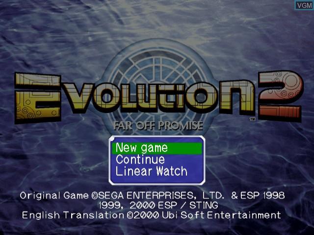 Menu screen of the game Evolution 2 - Far Off Promise on Sega Dreamcast